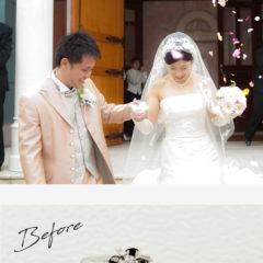 お客様インタビューI様のビフォーアフターの画像。結婚式の二人の姿、ビフォーは母から譲られた1粒タイプの立て爪の婚約指輪、アフターはファミリーリングとして、I様夫婦と同じデザインにリモデルして母にプレゼントした、イエローゴールドの指輪