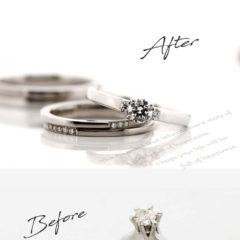 お客様インタビューU様のビフォーアフターの画像。アフターは、センターダイヤの両サイドに1つずつ脇石が付いた婚約指輪と、コーディネートした結婚指輪。ビフォーは母から譲られた立て爪の1粒タイプの婚約指輪