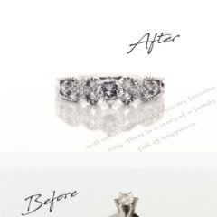 お客様インタビューJ様のビフォーアフターの画像。アフターは娘がリモデルしてくれた、ミル打ちと透かしがおしゃれな婚約指輪。ビフォーは結婚当時に夫からもらった1粒タイプの立て爪の婚約指輪