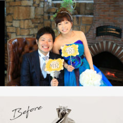 お客様インタビューS様のビフォーアフターの画像。結婚式の二人の姿、ビフォーは母から譲られた少し高さがある1粒タイプの婚約指輪、アフターは高さを抑えめにした1粒タイプ6本爪のシンプルな婚約指輪