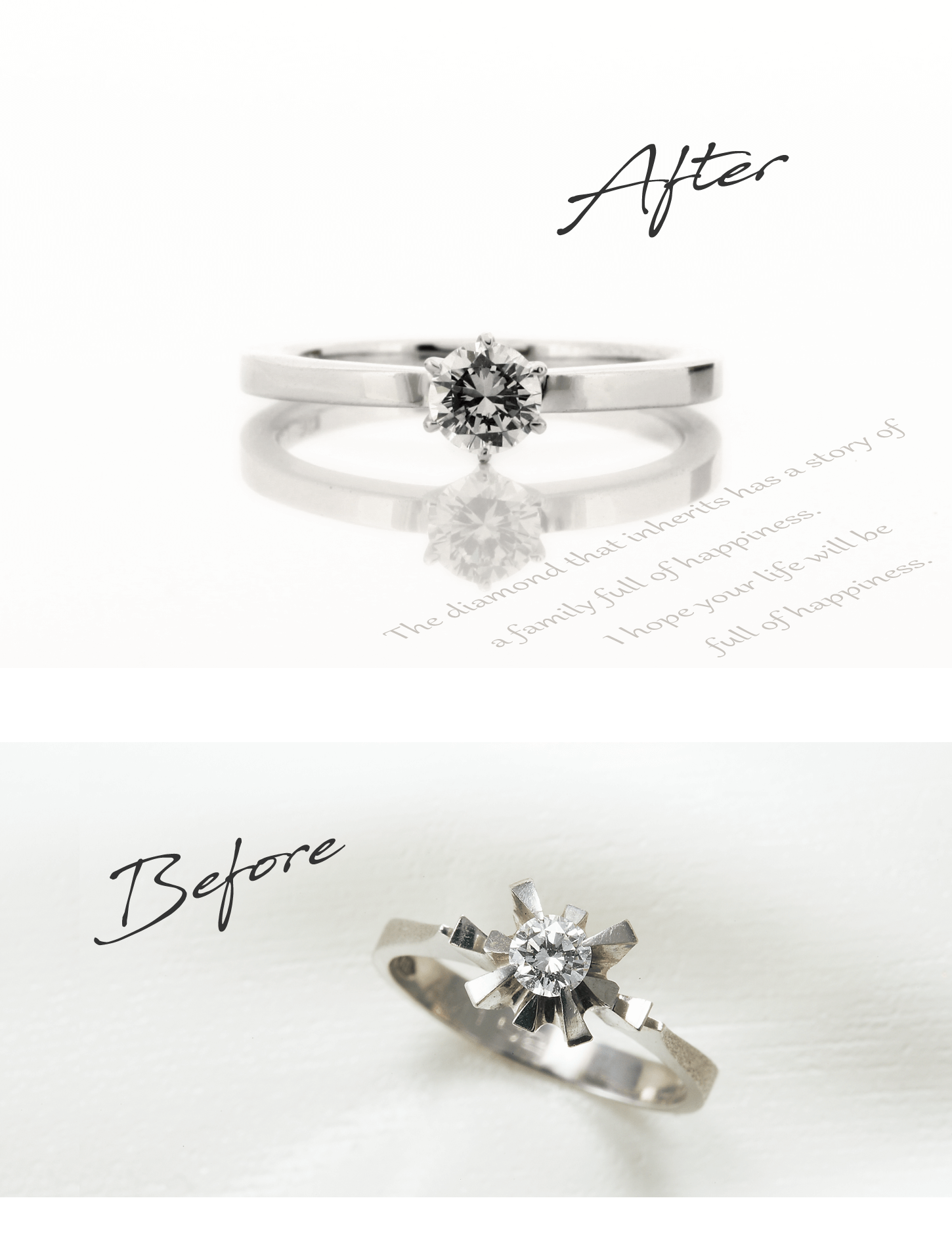 お客様インタビューI様のビフォーアフターの画像。アフターはセンターダイヤの両脇に1粒ずつメレダイヤを留めた婚約指輪。ビフォーは母からもらったしっかりとした立て爪の1粒タイプの婚約指輪