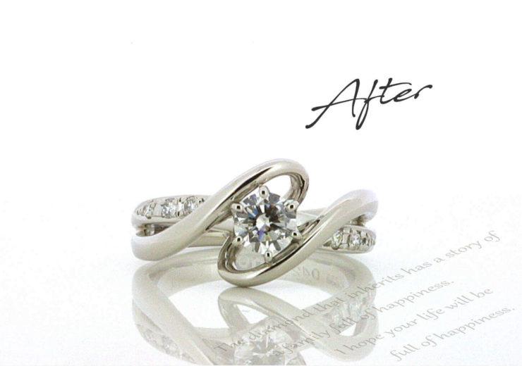 お客様インタビューW様のビフォーアフターの画像。アフターはデザイン性のあるデイリータイプの指輪。ビフォーは母からもらったしっかりとした立て爪の1粒タイプの婚約指輪