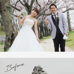 お客様インタビューS様のビフォーアフターの画像。桜の下でウエディングドレスとタキシードを着た二人の姿、ビフォーは母から譲られた1粒タイプの婚約指輪、アフターはダイヤを留める爪が花びらに見える、お花の形の婚約指輪