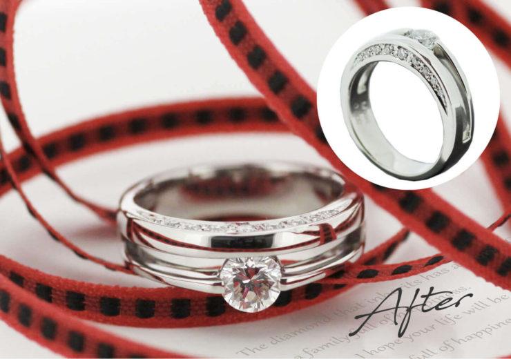 お客様インタビューS様のビフォーアフターの画像。アフターはデザイン性があり、サイド面にもメレダイヤを留めて華やかさもある、デイリータイプの指輪。ビフォーは夫からもらったシンプルな立て爪の1粒タイプの婚約指輪
