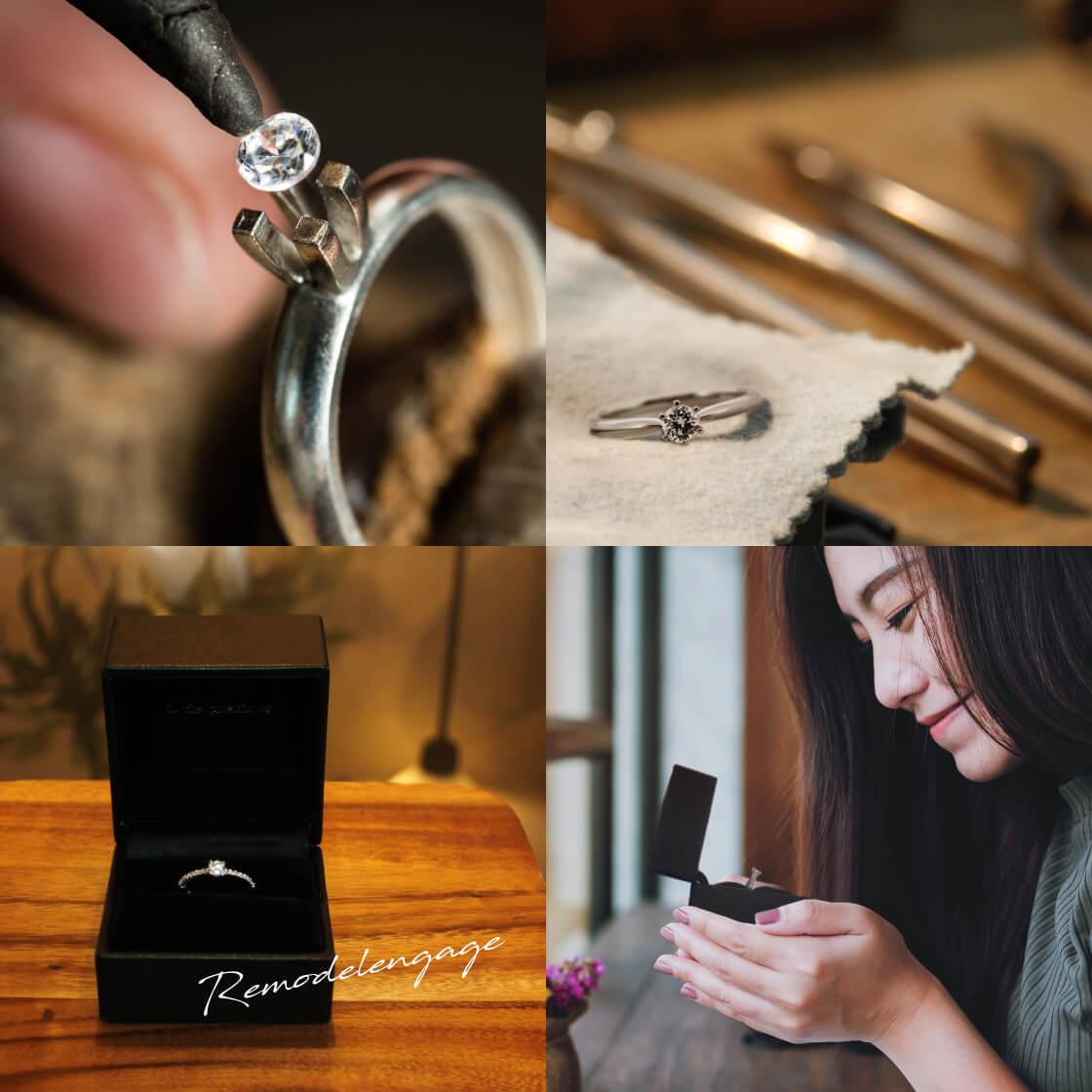 工房でリモデルしているイメージから完成したリングをみて微笑んでる女性の様子